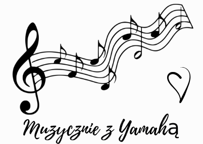 Muzycznie z Yamahą. Na grafice klucz wiolonowy i pięciolinia z nutami