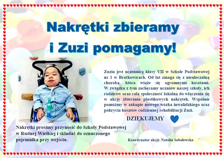 Plakat - zbieramy nakrętki dla Zuzi